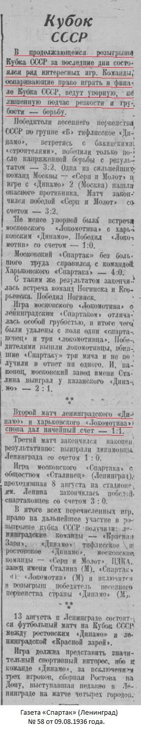 Локомотив (Харьков) - Динамо (Ленинград) 1:1 д.в.