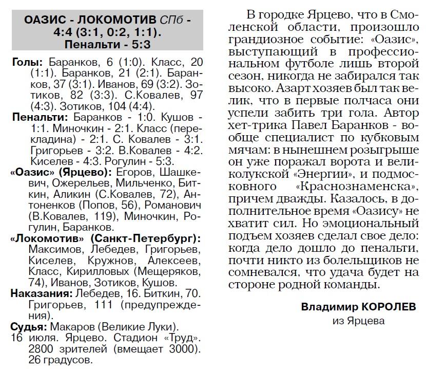 Оазис (Ярцево) - Локомотив (Санкт-Петербург) 4:4 пен. 5:3. Нажмите, чтобы посмотреть истинный размер рисунка