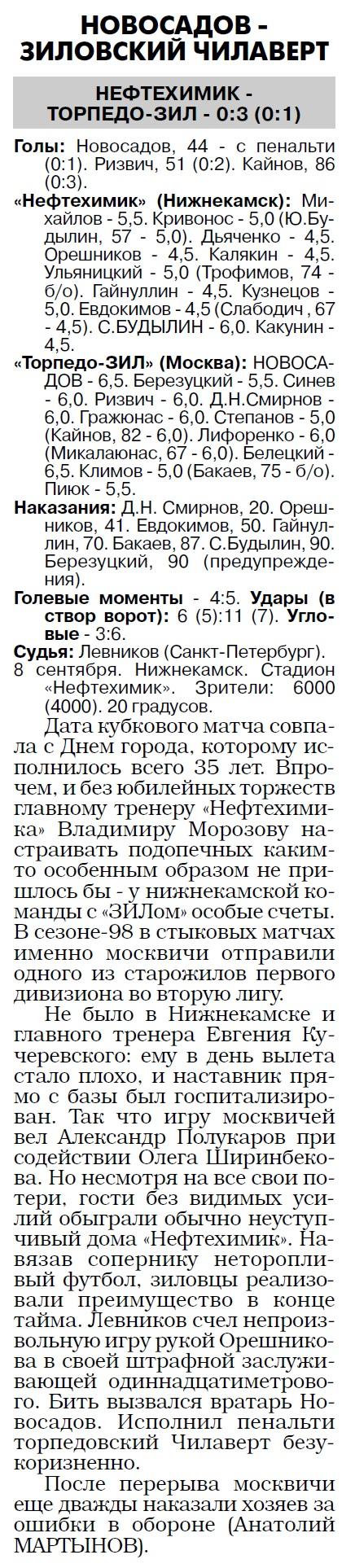 Нефтехимик (Нижнекамск) - Торпедо-ЗИЛ (Москва) 0:3