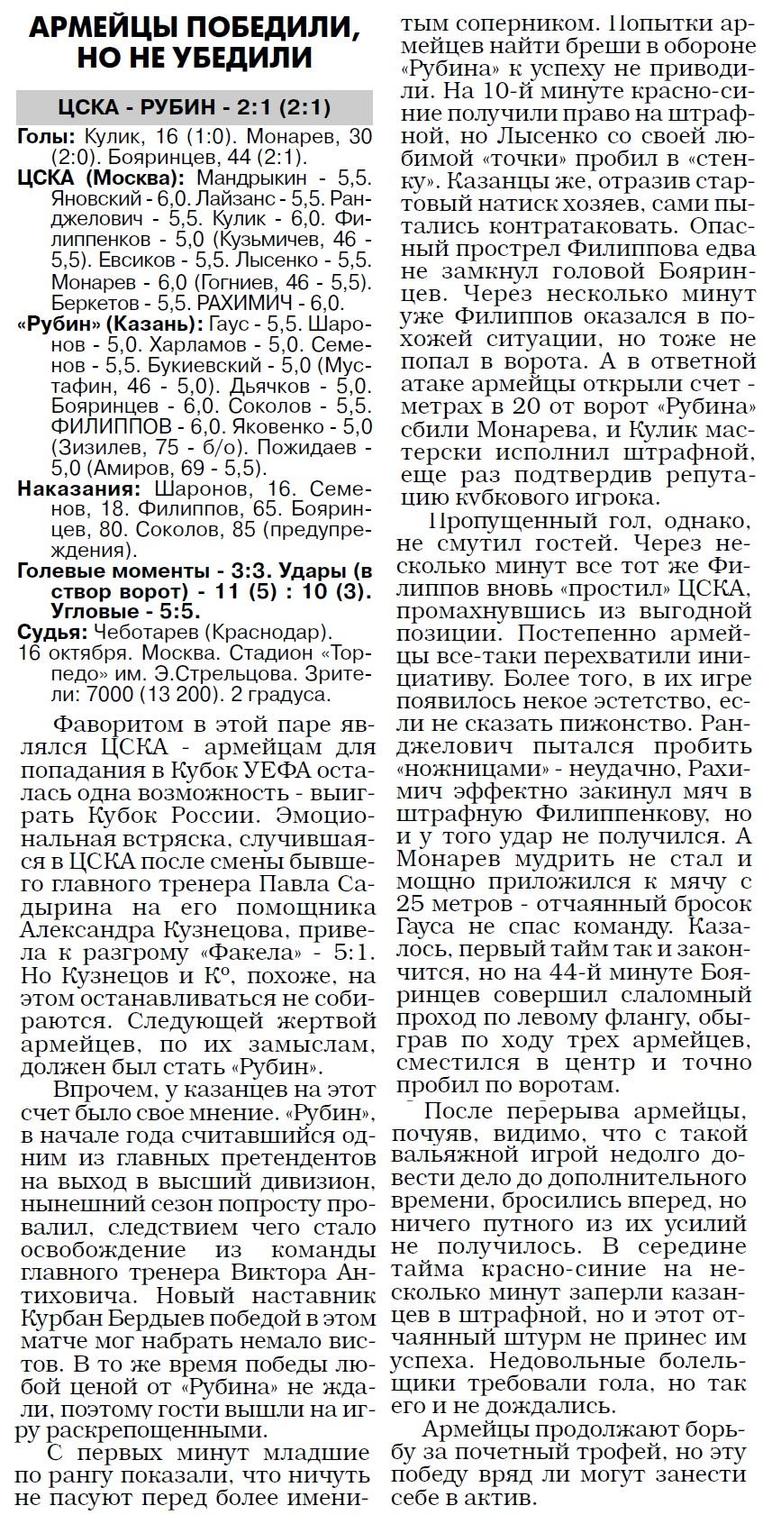 ЦСКА (Москва) - Рубин (Казань) 2:1. Нажмите, чтобы посмотреть истинный размер рисунка