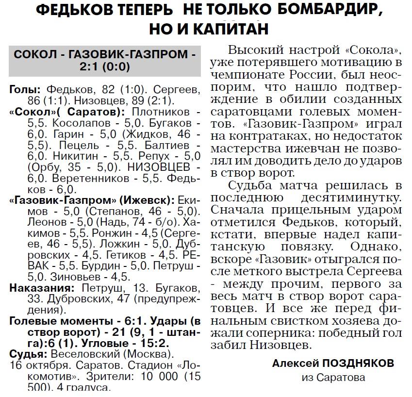 Сокол (Саратов) - Газовик-Газпром (Ижевск) 2:1. Нажмите, чтобы посмотреть истинный размер рисунка