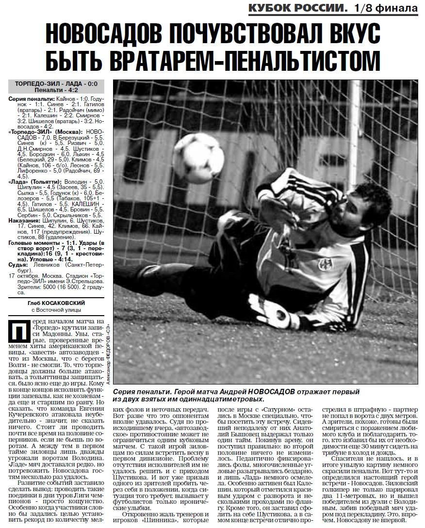 Торпедо-ЗИЛ (Москва) - Лада (Тольятти) 0:0 пен. 4:2. Нажмите, чтобы посмотреть истинный размер рисунка