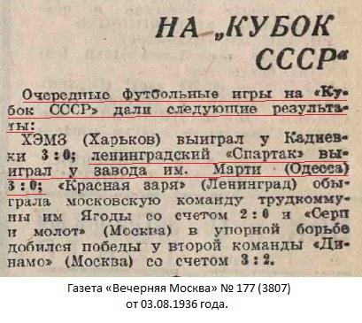 Завод им. А.Марти (Николаев) - Спартак (Ленинград) 0:3