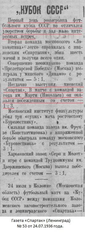 Завод им. А.Марти (Николаев) - Спартак (Киев) 3:0