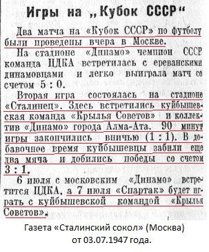 Крылья Советов (Куйбышев) - Динамо (Алма-Ата) 3:1 д.в.