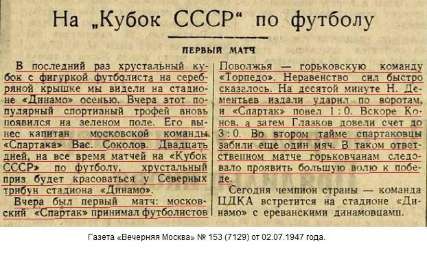 Торпедо (Горький) - Спартак (Москва) 0:4