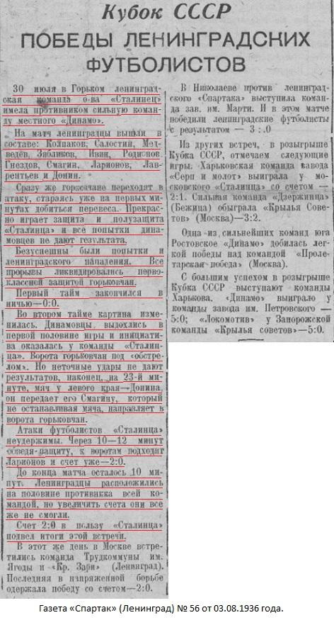 Динамо (Горький) - Сталинец (Ленинград) 0:2