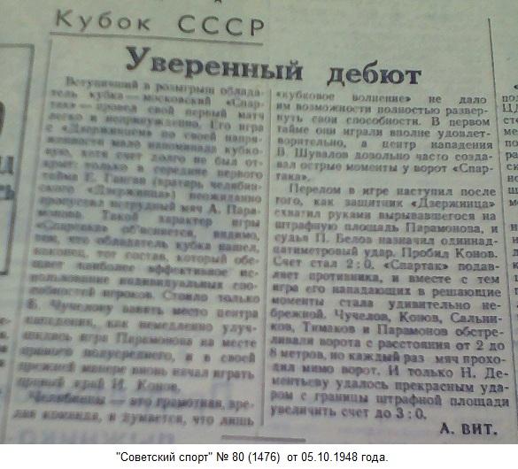 Дзержинец (Челябинск) - Спартак (Москва) 0:3