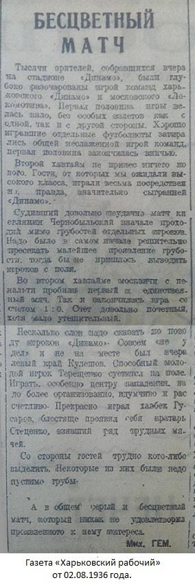 Динамо (Харьков) - Локомотив (Москва) 0:1