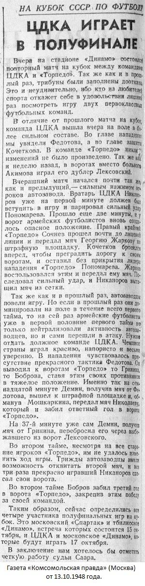 Торпедо (Москва) - ЦДКА (Москва) 1:3