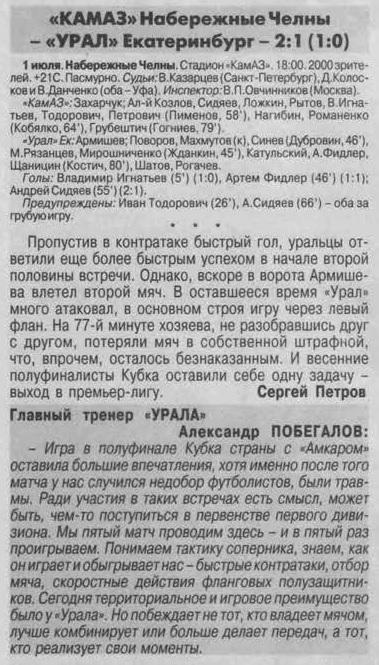 КамАЗ (Набережные Челны) - Урал (Екатеринбург) 2:1