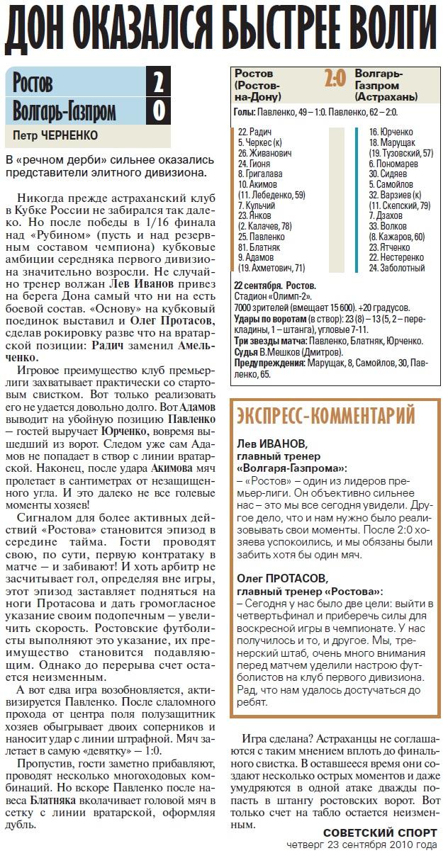 Ростов (Ростов-на-Дону) - Волгарь-Газпром (Астрахань) 2:0