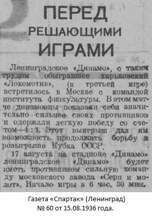 ГЦОЛИФК (Москва) - Динамо (Ленинград) 1:4