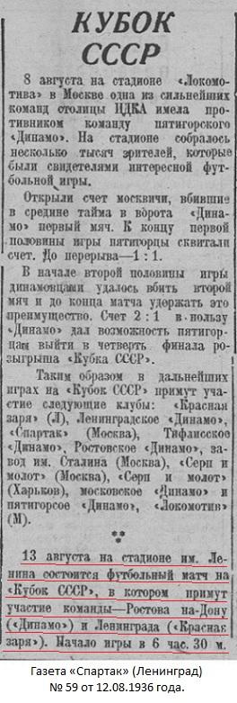 Красная Заря (Ленинград) - Динамо (Ростов-на-Дону) 2:1