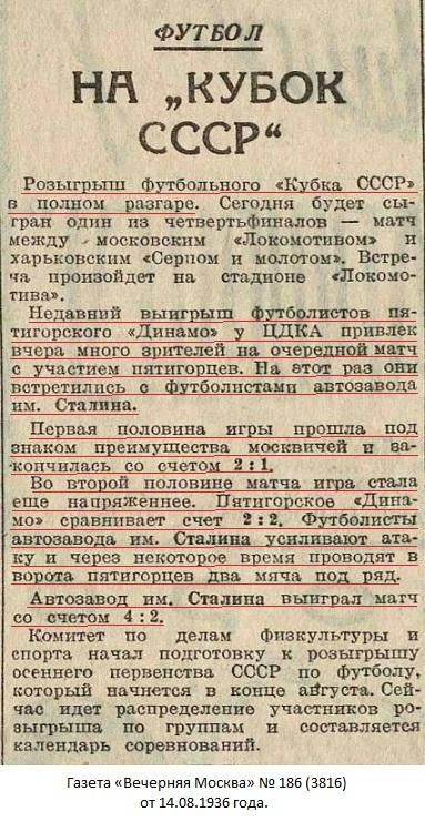 ЗИС - автомобильный завод им. И.В. Сталина (Москва) - Динамо (Пятигорск) 4:2