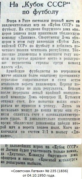 ДО (Рига) - Динамо (Тбилиси) 1:2 д.в.