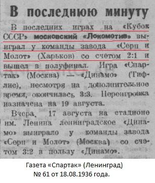 Локомотив (Москва) - Серп и Молот (Харьков) 2:1