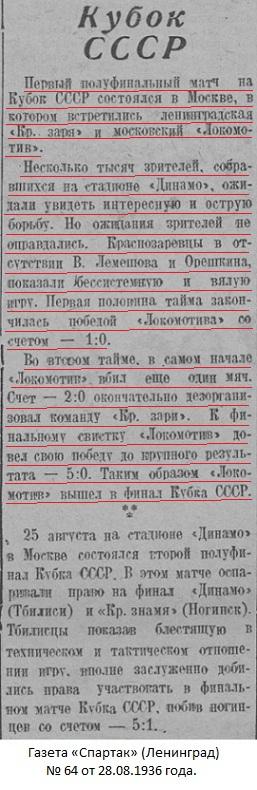 Локомотив (Москва) - Красная Заря (Ленинград) 5:0