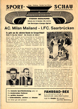Саарбрюккен (Саар) - Милан (Италия) 1:4