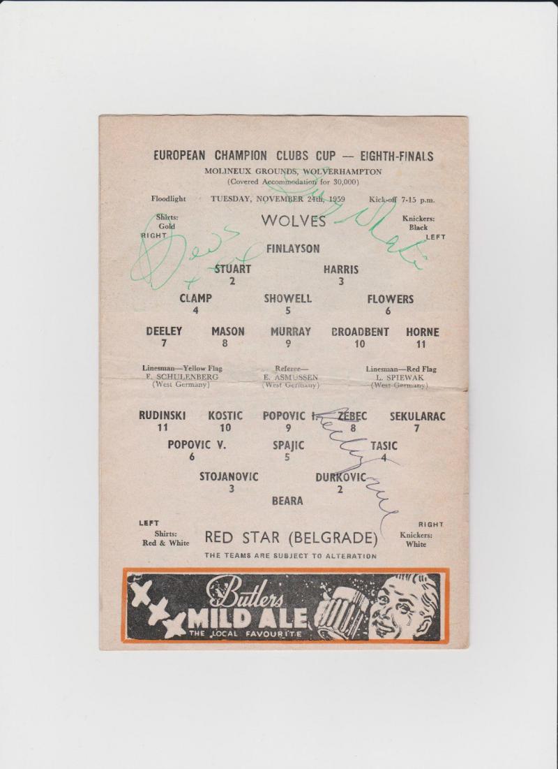 Вулверхэмптон Уондерерс (Англия) - Црвена Звезда (Югославия) 3:0. Нажмите, чтобы посмотреть истинный размер рисунка