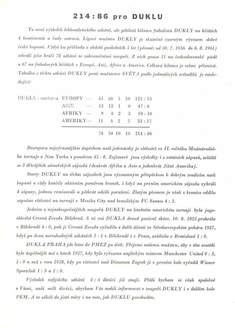 Дукла Прага (Чехословакия) - ЦДНА София (Болгария) 2:1. Нажмите, чтобы посмотреть истинный размер рисунка