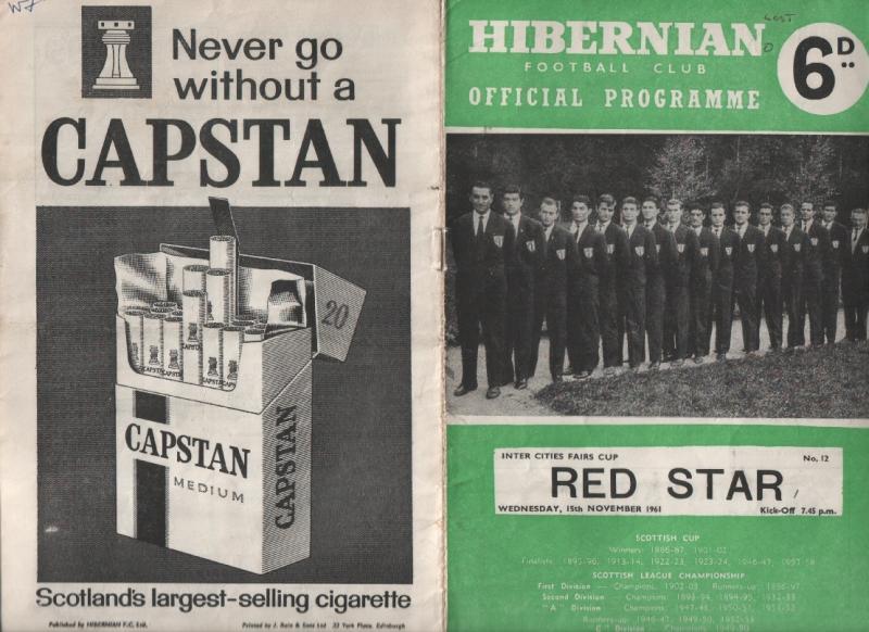 Хиберниан (Шотландия) - Црвена Звезда (Югославия) 0:1. Нажмите, чтобы посмотреть истинный размер рисунка