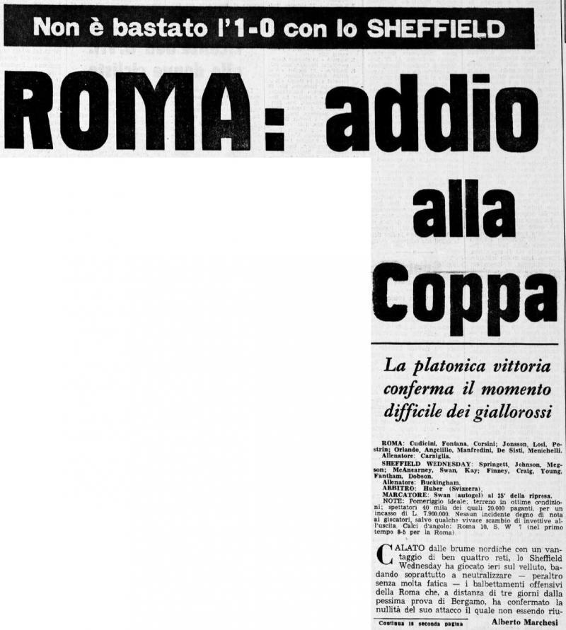 Рома (Италия) - Шеффилд Уэнсдэй (Англия) 1:0. Нажмите, чтобы посмотреть истинный размер рисунка