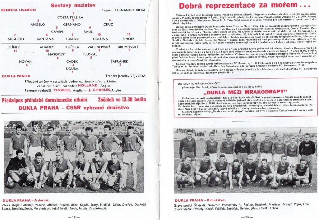 Дукла Прага (Чехословакия) - Бенфика (Португалия) 0:0. Нажмите, чтобы посмотреть истинный размер рисунка