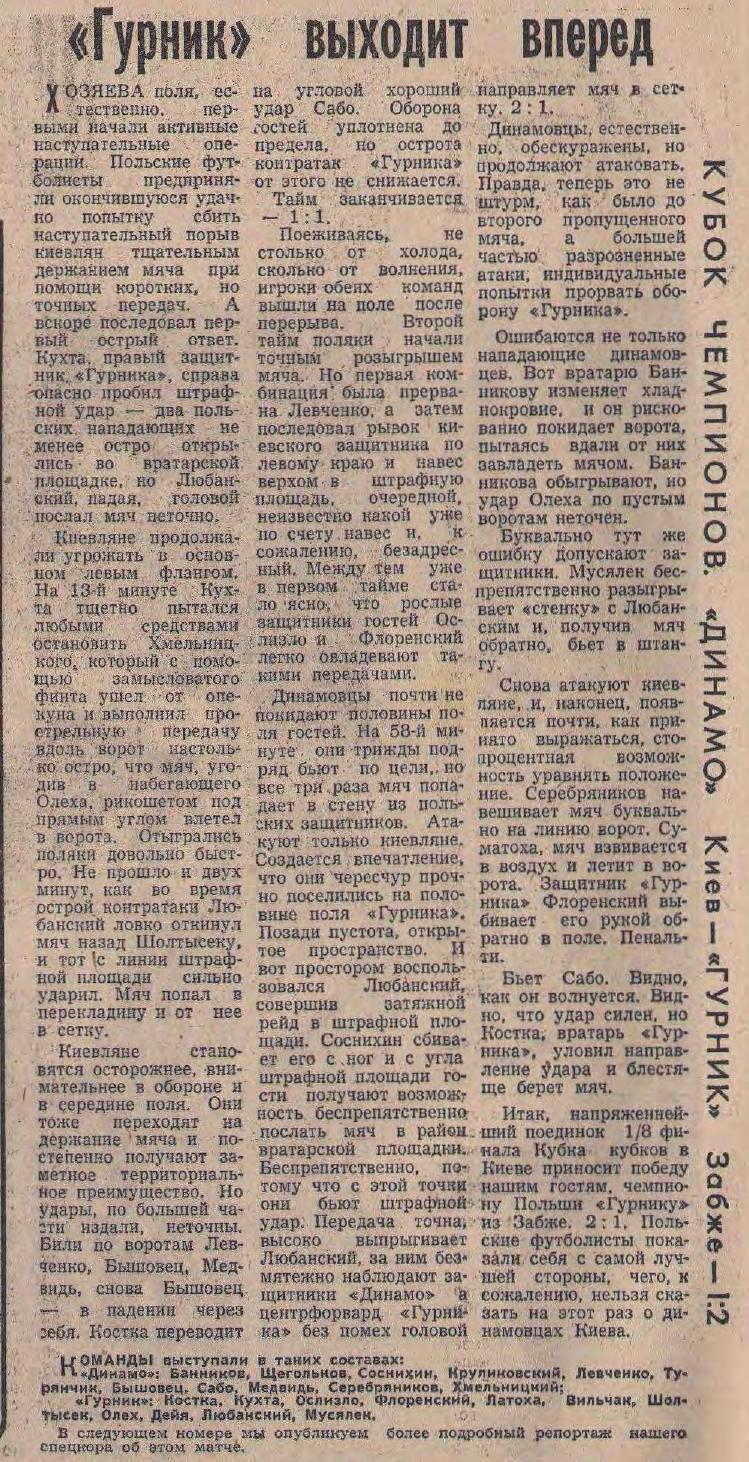 Динамо Киев (СССР) - Гурник Забже (Польша) 1:2