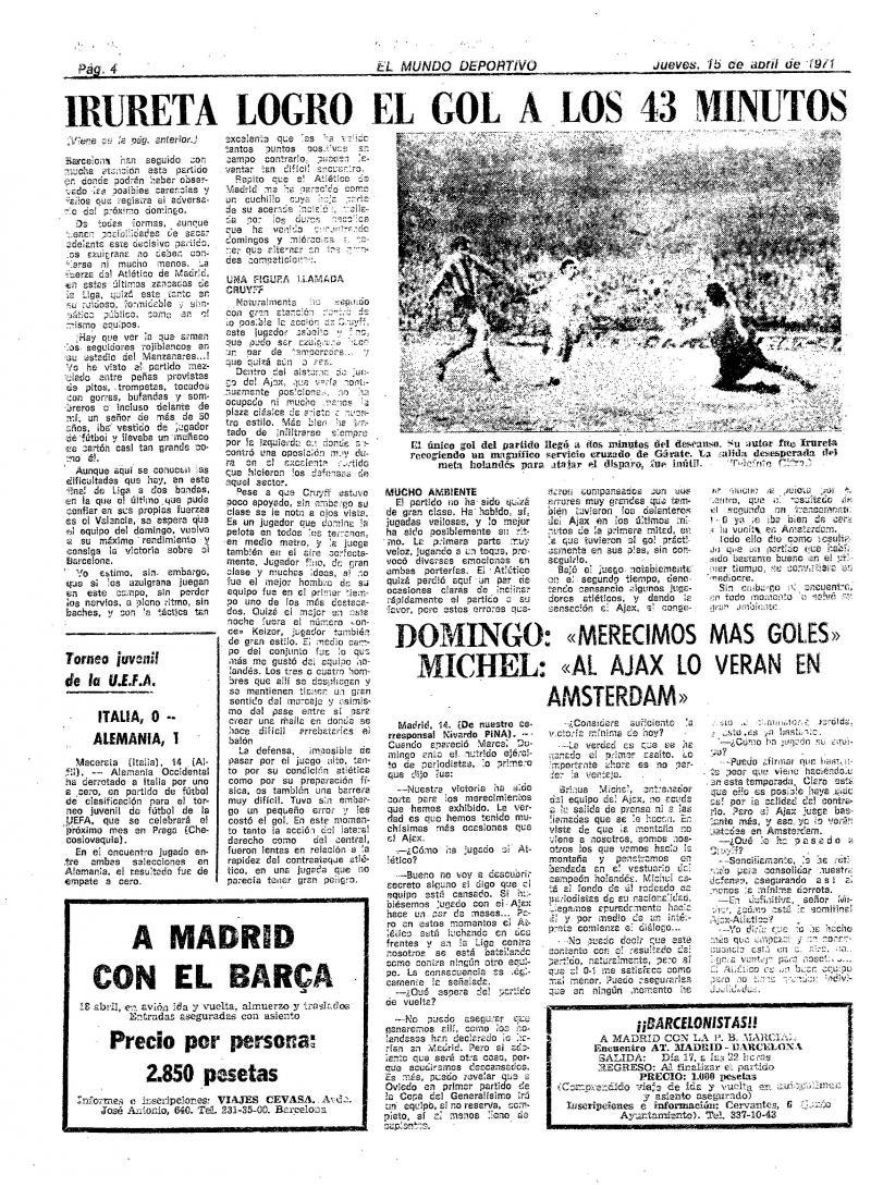 Атлетико (Испания) - Аякс (Голландия) 1:0. Нажмите, чтобы посмотреть истинный размер рисунка