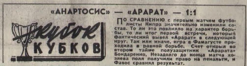 Анортосис (Кипр) - Арарат (СССР) 1:1