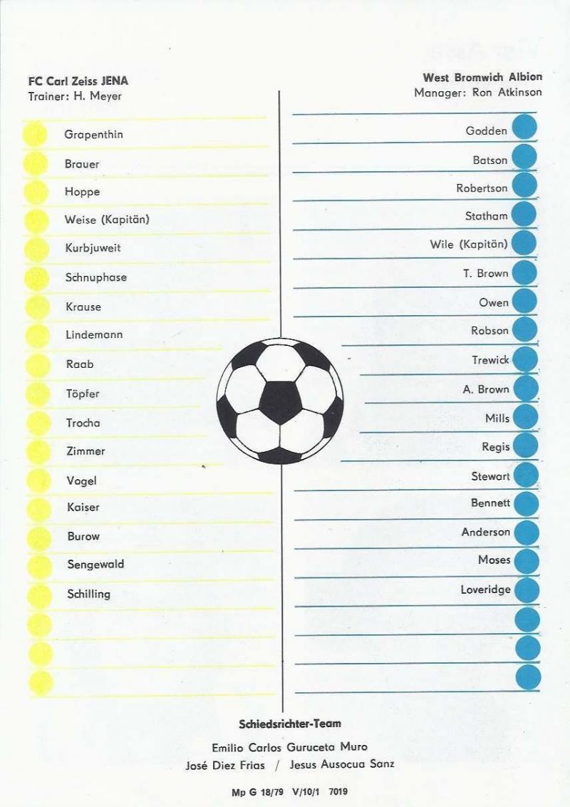 Карл Цейсс Йена (ГДР) - Вест Бромвич Альбион (Англия) 2:0. Нажмите, чтобы посмотреть истинный размер рисунка