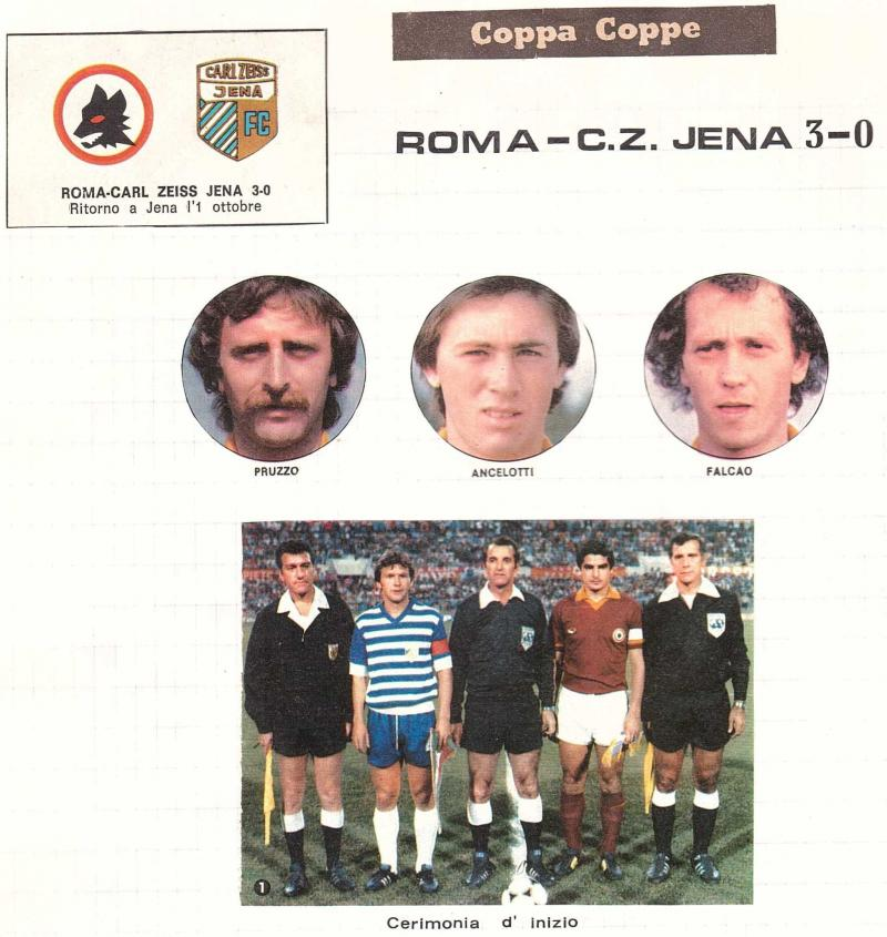 Рома (Италия) - Карл Цейсс Йена (ГДР) 3:0. Нажмите, чтобы посмотреть истинный размер рисунка