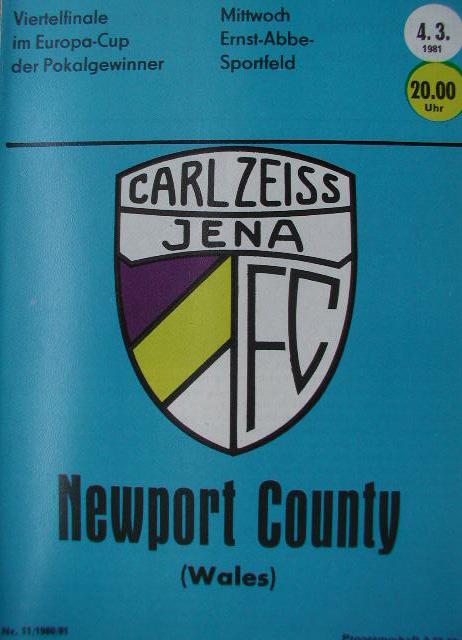 Карл Цейсс Йена (ГДР) - Ньюпорт Каунти (Уэльс) 2:2