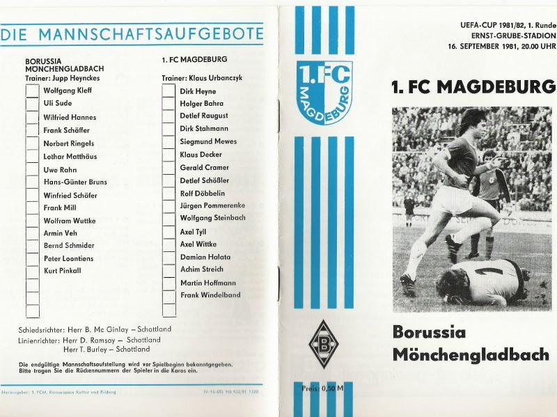 Магдебург (ГДР) - Боруссия М (Германия) 3:1. Нажмите, чтобы посмотреть истинный размер рисунка