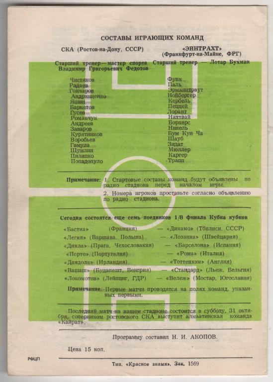 СКА Ростов (СССР) - Айнтрахт Франкфурт (Германия) 1:0