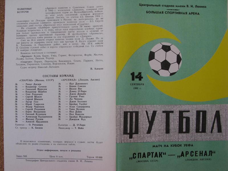 Спартак (СССР) - Арсенал (Англия) 3:2. Нажмите, чтобы посмотреть истинный размер рисунка