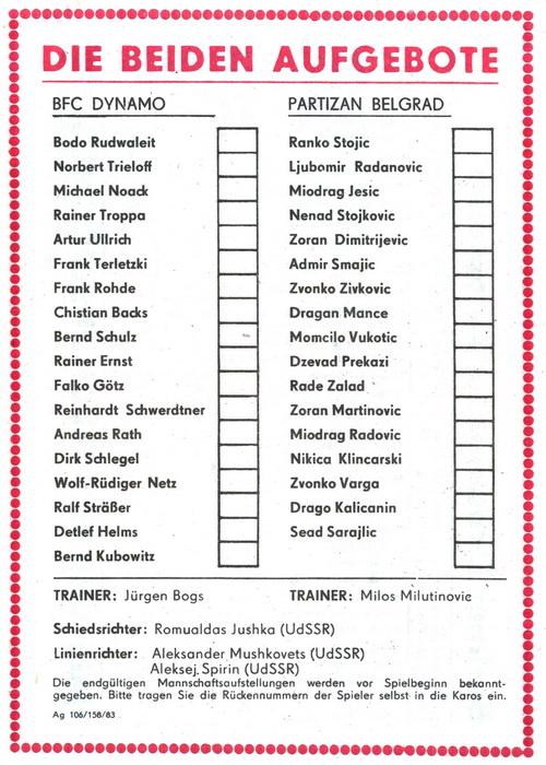 Динамо Берлин (ГДР) - Партизан (Югославия) 2:0