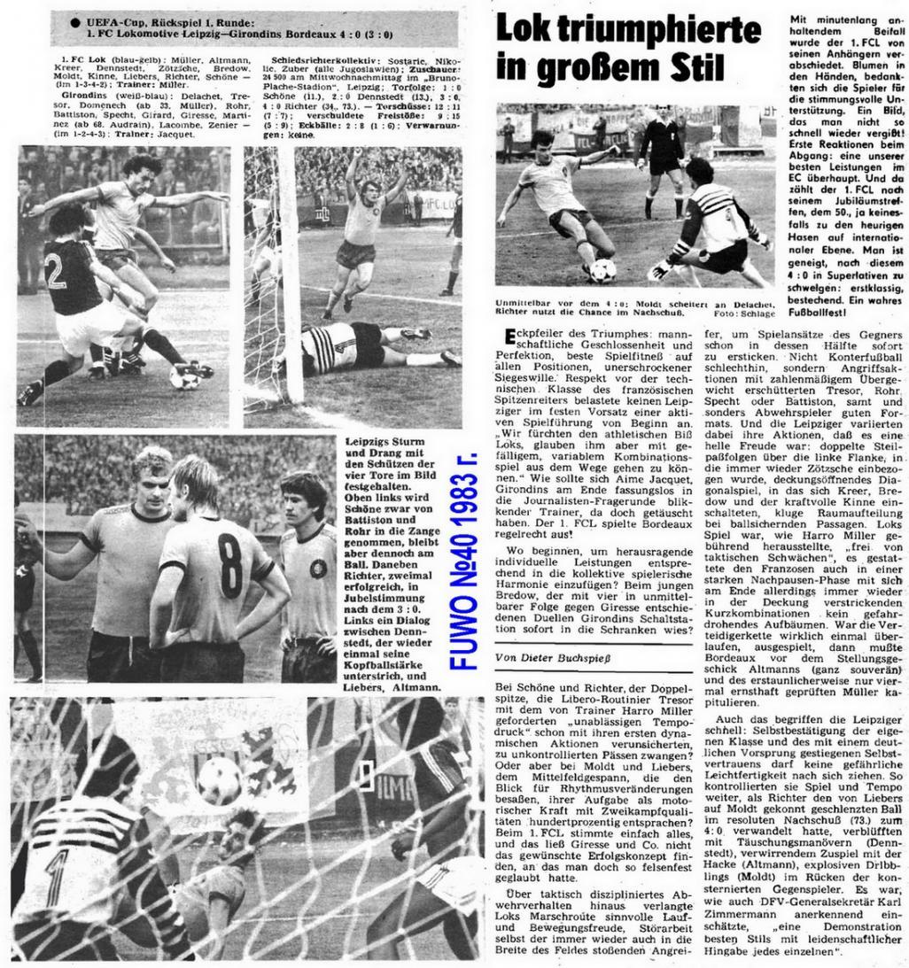 Локомотив Лейпциг (ГДР) - Бордо (Франция) 4:0. Нажмите, чтобы посмотреть истинный размер рисунка