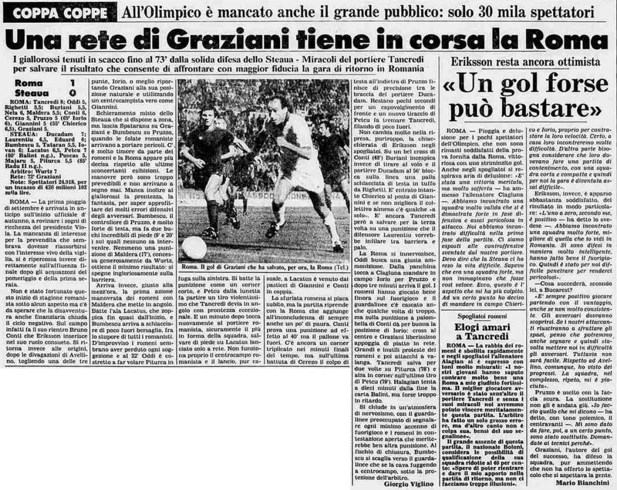 Рома (Италия) - Стяуа (Румыния) 1:0