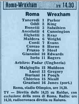 Рома (Италия) - Рексхэм (Уэльс) 2:0