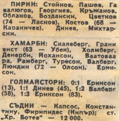 Пирин (Болгария) - Хаммарбю (Швеция) 1:3