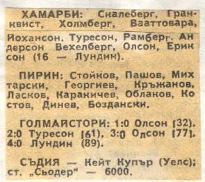 Хаммарбю (Швеция) - Пирин (Болгария) 4:0