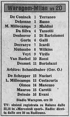 Варегем (Бельгия) - Милан (Италия) 1:1