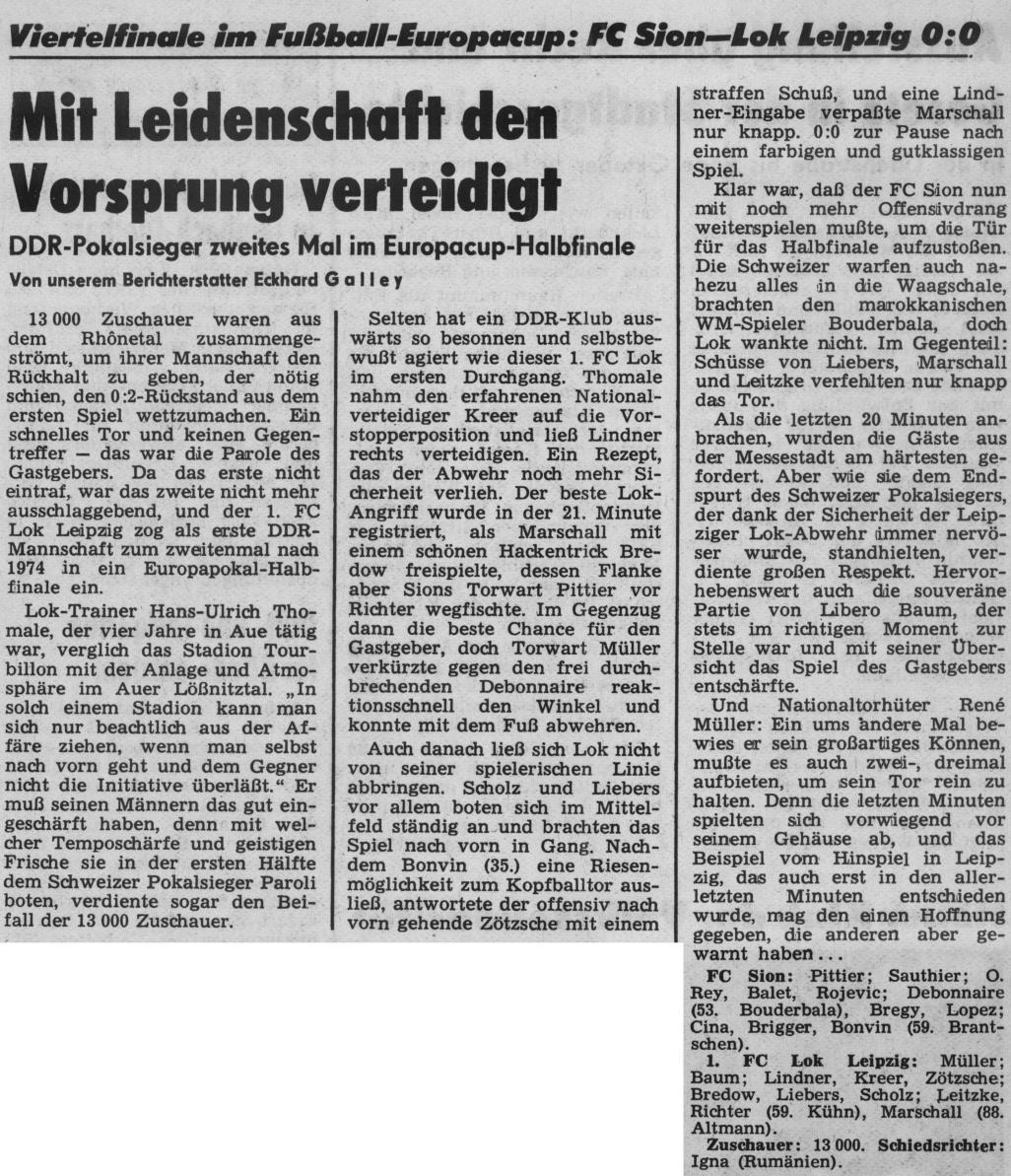 Сьон (Швейцария) - Локомотив Лейпциг (ГДР) 0:0. Нажмите, чтобы посмотреть истинный размер рисунка