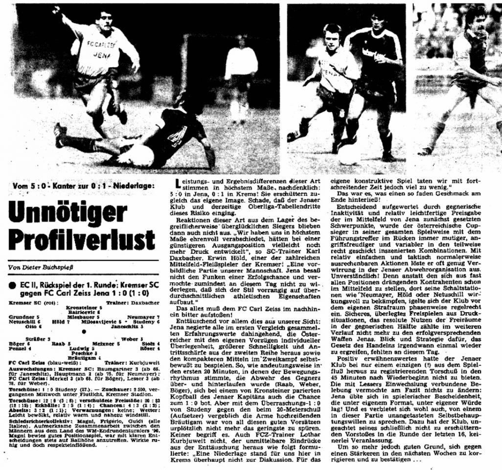 Кремс (Австрия) - Карл Цейсс Йена (ГДР) 1:0. Нажмите, чтобы посмотреть истинный размер рисунка