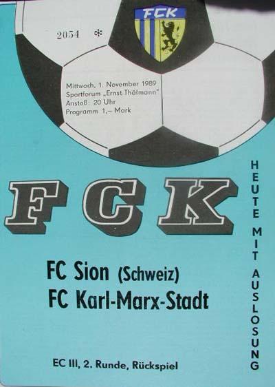 Хемниц (ГДР) - Сьон (Швейцария) 4:1
