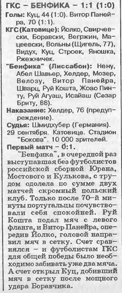 ГКС Катовице (Польша) - Бенфика (Португалия) 1:1