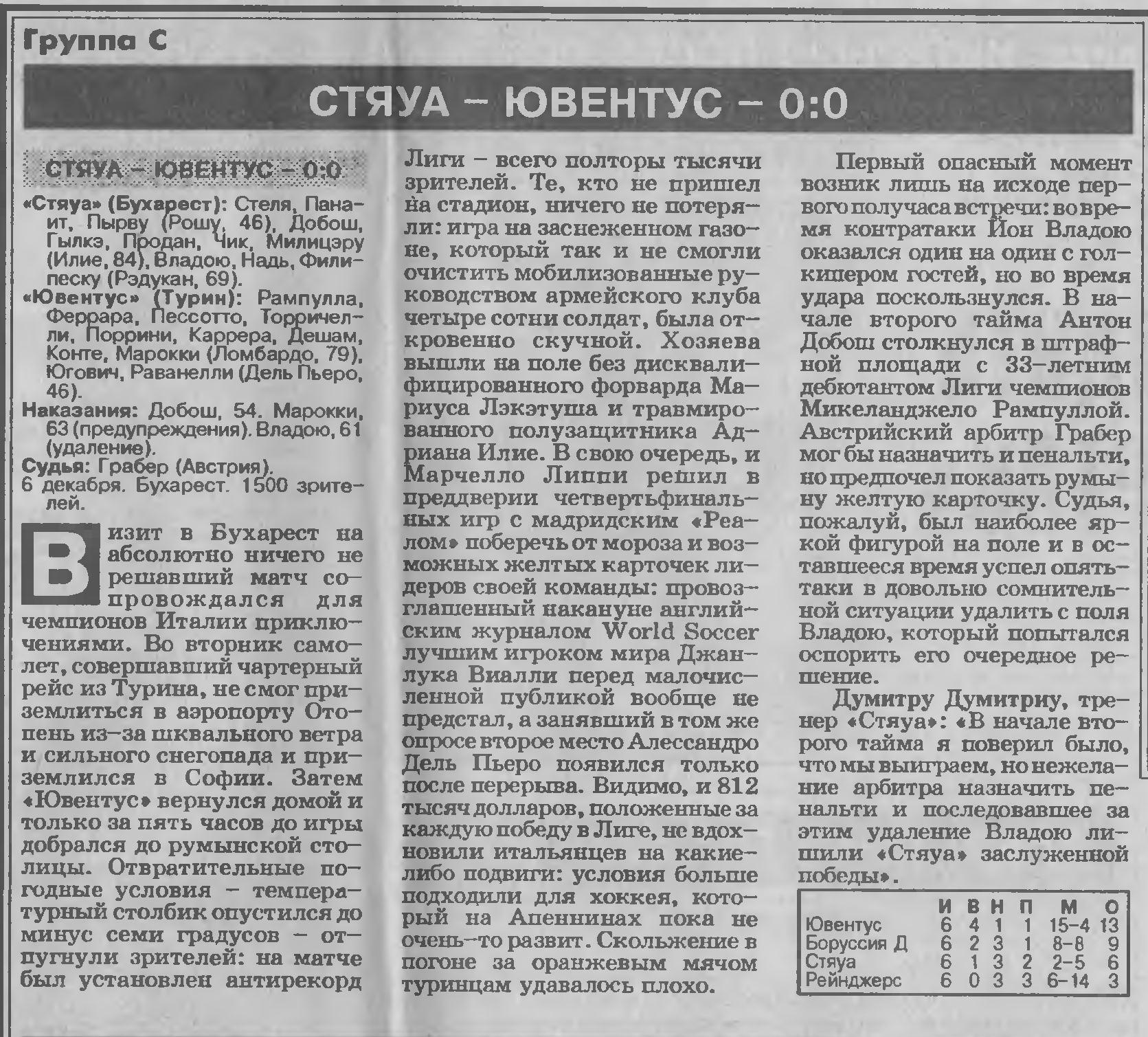 Стяуа (Румыния) - Ювентус (Италия) 0:0