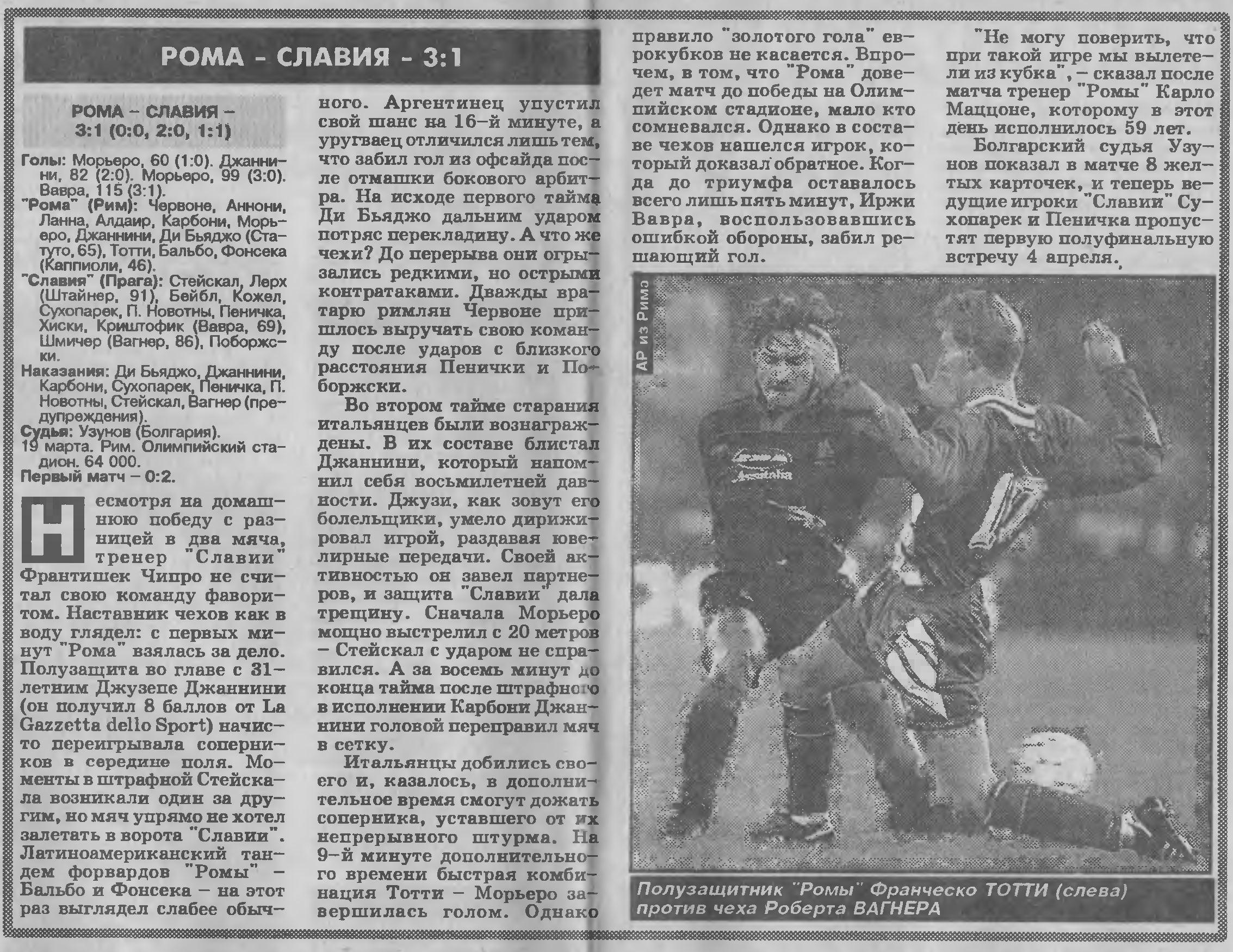 Рома (Италия) - Славия (Чехия) 3:1 д.в.